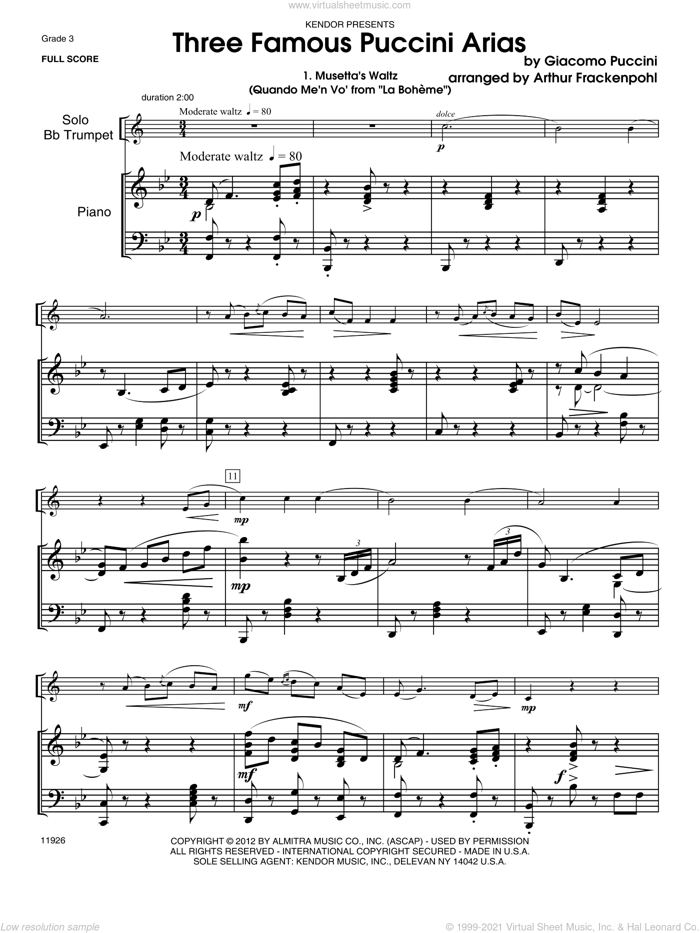 Three Famous Puccini Arias sheet music for trumpet and piano (piano/score) by Giacomo Puccini