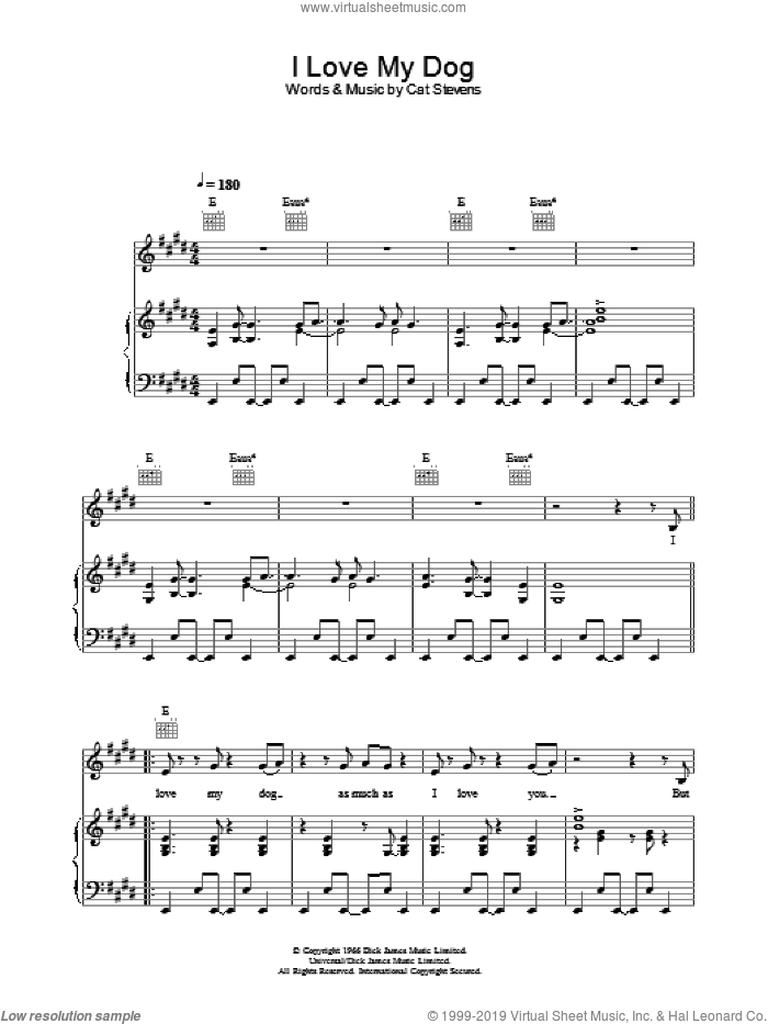 I Love My Dog sheet music for voice, piano or guitar by Cat Stevens. Score Image Preview.