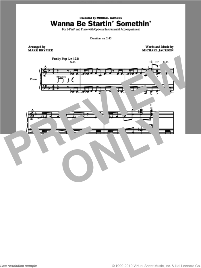 Wanna Be Startin' Somethin' sheet music for choir (2-Part) by Mark Brymer, Glee Cast and Michael Jackson, intermediate duet