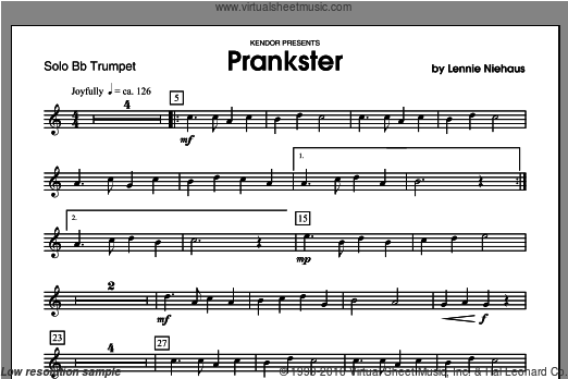 Prankster (COMPLETE) sheet music for trumpet and piano by Lennie Niehaus