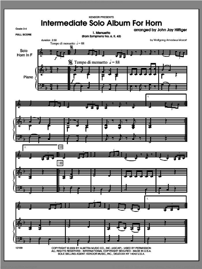 Intermediate Solo Album For Horn (COMPLETE) sheet music for horn and piano by Hilfiger, classical score, intermediate skill level
