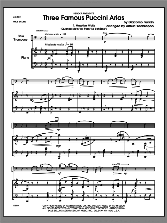 Three Famous Puccini Arias (COMPLETE) sheet music for trombone and piano by Giacomo Puccini and Steve Frackenpohl, classical score, intermediate skill level