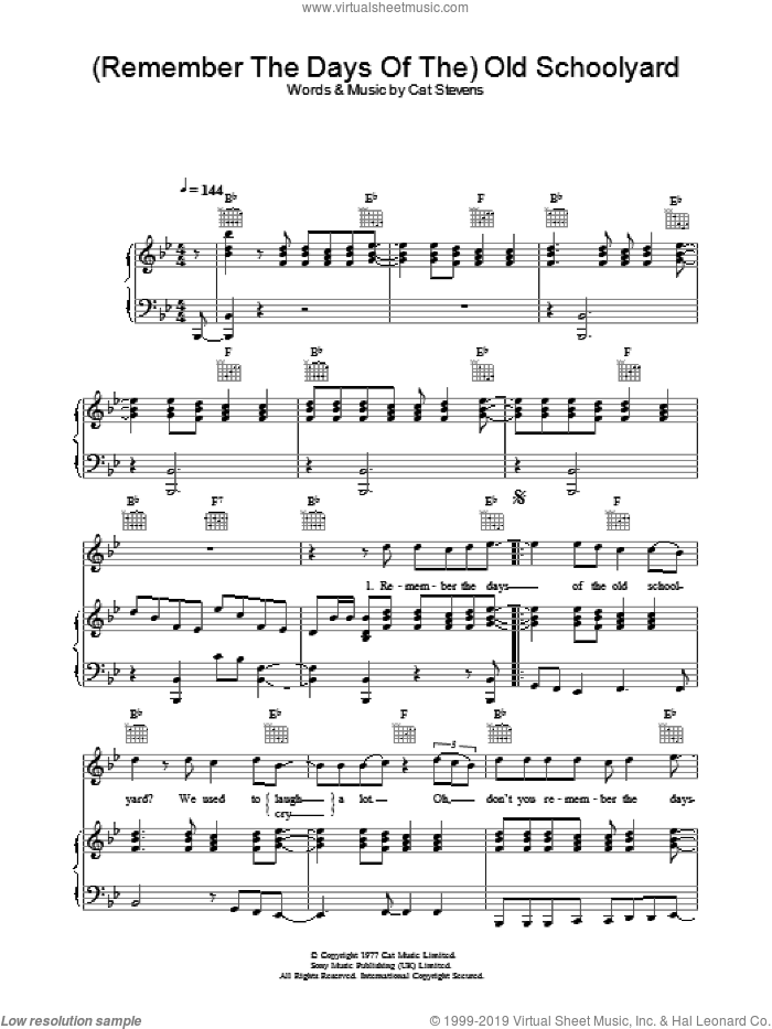 (Remember The Days Of The) Old Schoolyard sheet music for voice, piano or guitar by Cat Stevens. Score Image Preview.
