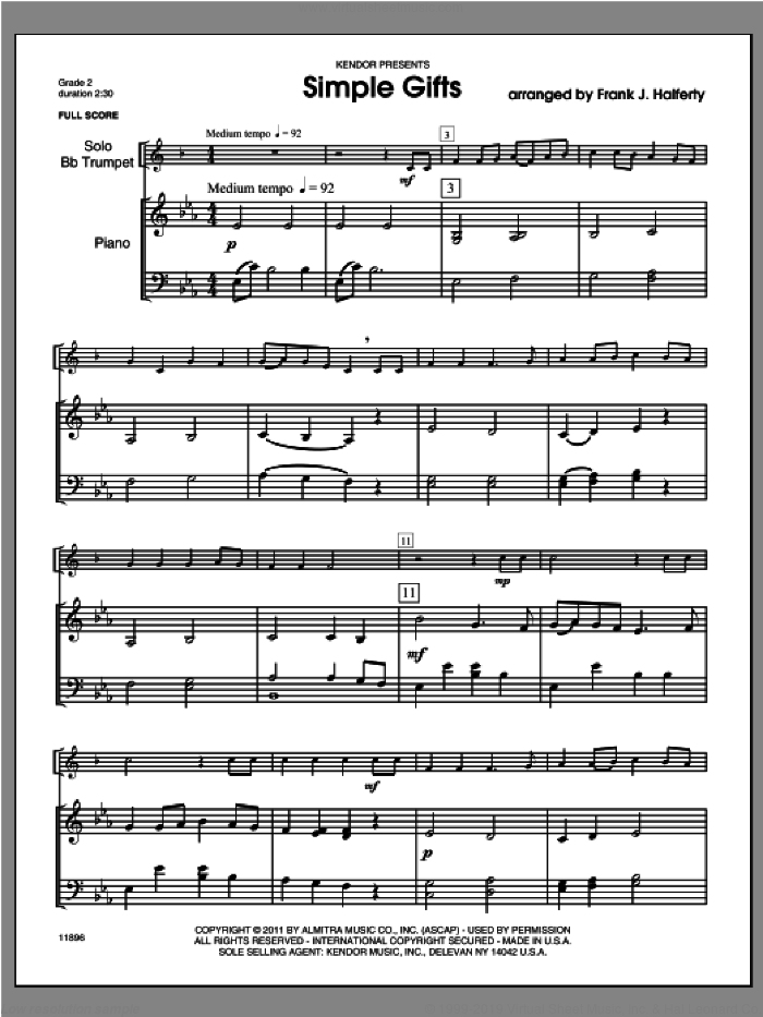 Simple Gifts (COMPLETE) sheet music for trumpet and piano by Halferty, classical score, intermediate