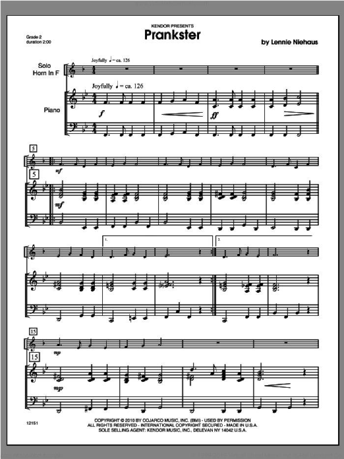 Prankster (COMPLETE) sheet music for horn and piano by Lennie Niehaus, classical score, intermediate skill level