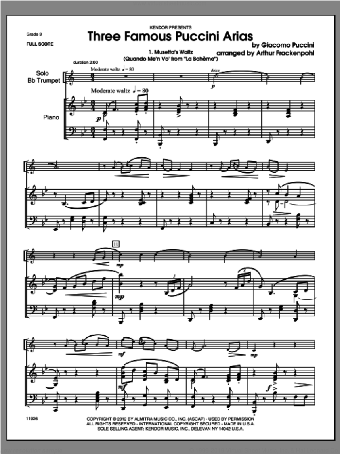 Three Famous Puccini Arias (COMPLETE) sheet music for trumpet and piano by Giacomo Puccini and Steve Frackenpohl, classical score, intermediate skill level