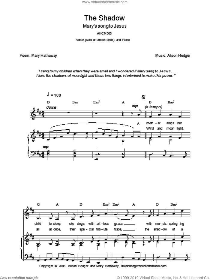 The Shadow sheet music for voice, piano or guitar by Mary Hathaway and Alison Hedger. Score Image Preview.