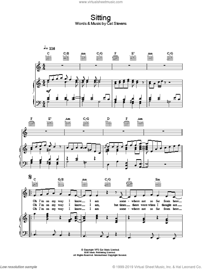 Sitting sheet music for voice, piano or guitar by Cat Stevens. Score Image Preview.