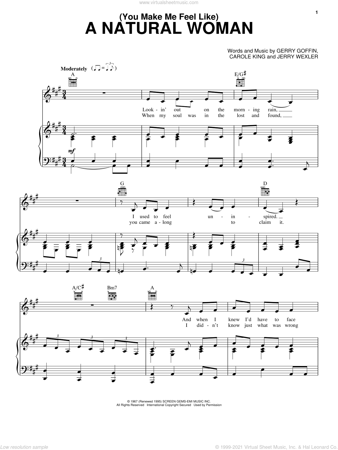 (You Make Me Feel Like) A Natural Woman sheet music for voice, piano or guitar by Aretha Franklin, Carole King, Gerry Goffin and Jerry Wexler, intermediate