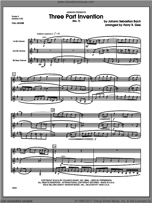 Three Part Invention (No. 7) (COMPLETE) sheet music for clarinet trio by Johann Sebastian Bach and Gee, classical score, intermediate. Score Image Preview.