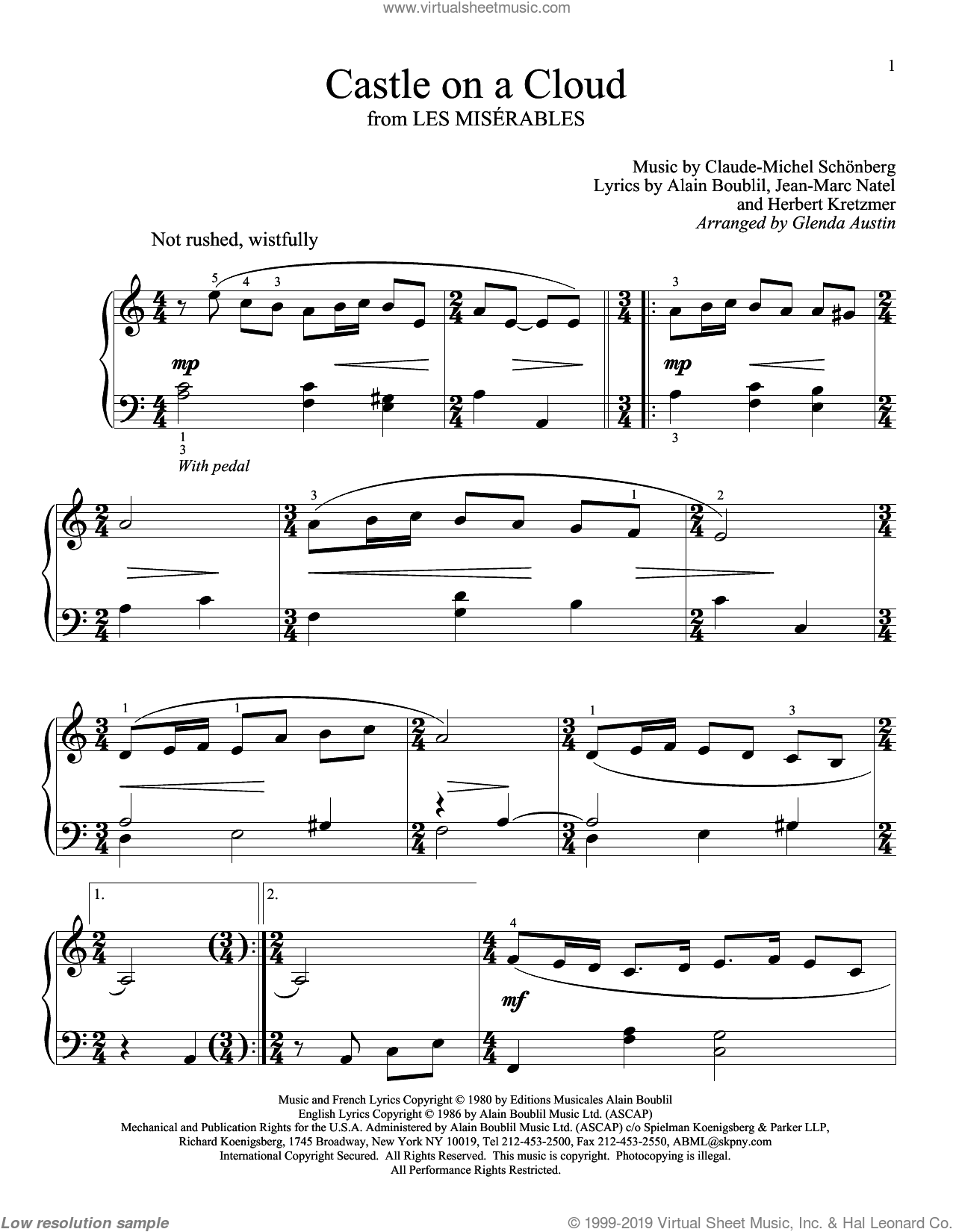 Castle On A Cloud sheet music for piano solo (elementary) by Alain Boublil, Glenda Austin, Les Miserables (Musical), Claude-Michel Schonberg, Herbert Kretzmer and Jean-Marc Natel, beginner piano (elementary)