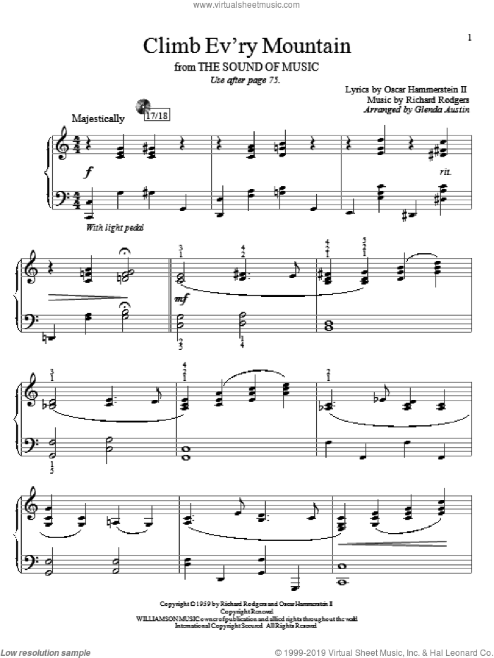 Climb Ev'ry Mountain sheet music for piano solo (elementary) by Richard Rodgers, Glenda Austin, Rodgers & Hammerstein, The Sound Of Music (Musical) and Oscar II Hammerstein, beginner piano (elementary)