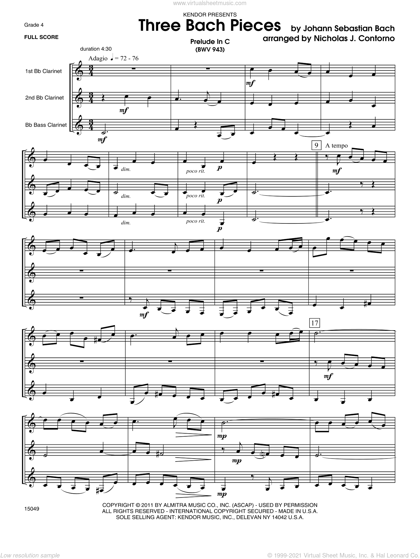Three Bach Pieces sheet music for three clarinets (full score) by Johann Sebastian Bach. Score Image Preview.