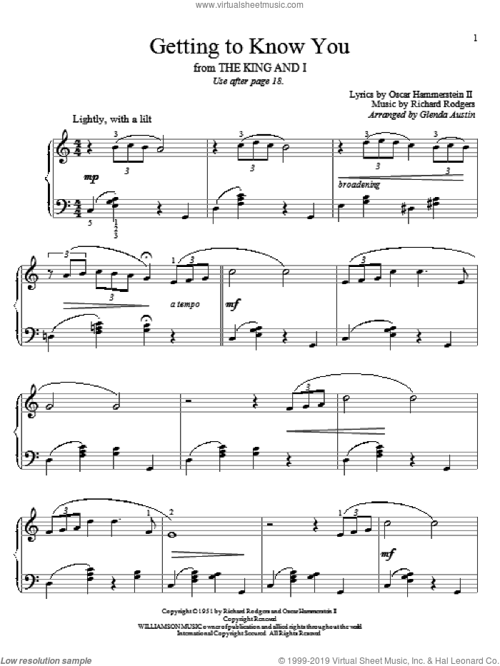 Getting To Know You sheet music for piano solo (elementary) by Richard Rodgers, Glenda Austin, Rodgers & Hammerstein and Oscar II Hammerstein, beginner piano (elementary). Score Image Preview.