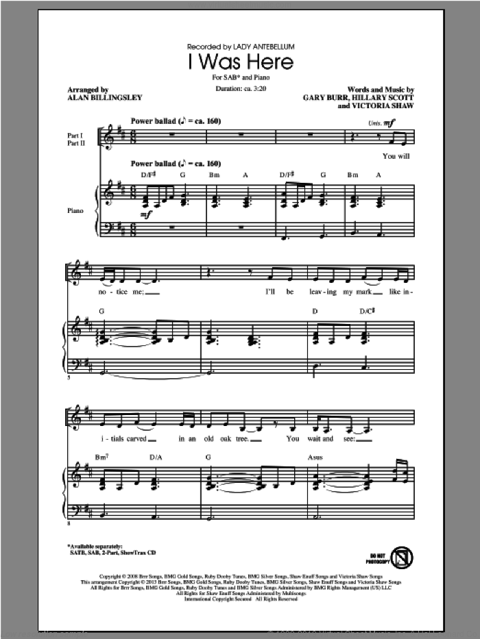 I Was Here sheet music for choir (SAB: soprano, alto, bass) by Alan Billingsley and Lady Antebellum, intermediate skill level