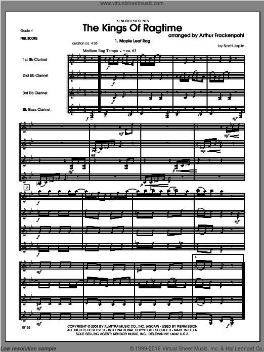 Kings Of Ragtime, The (COMPLETE) sheet music for four clarinets by Arthur Frackenpohl. Score Image Preview.