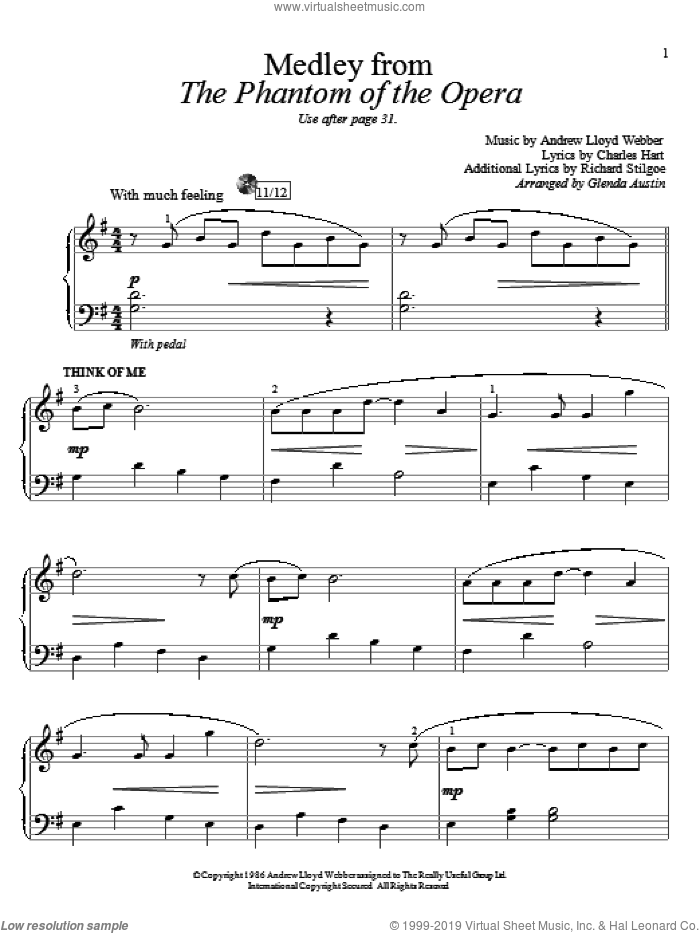 Think Of Me sheet music for piano solo (elementary) by Andrew Lloyd Webber and Glenda Austin. Score Image Preview.