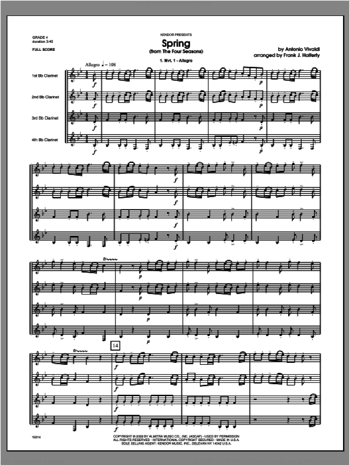 Spring (from The Four Seasons) (COMPLETE) sheet music for clarinet quartet by Antonio Vivaldi and Halferty, classical score, intermediate skill level