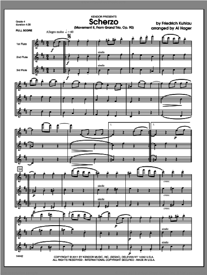Scherzo (Movement II from Grand Trio, Op. 90) (COMPLETE) sheet music for flute trio by Friedrich Daniel Rudolf Kuhlau and Al Hager, classical score, intermediate skill level