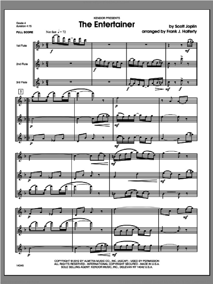 Entertainer, The (COMPLETE) sheet music for flute trio by Scott Joplin and Halferty, classical score, intermediate