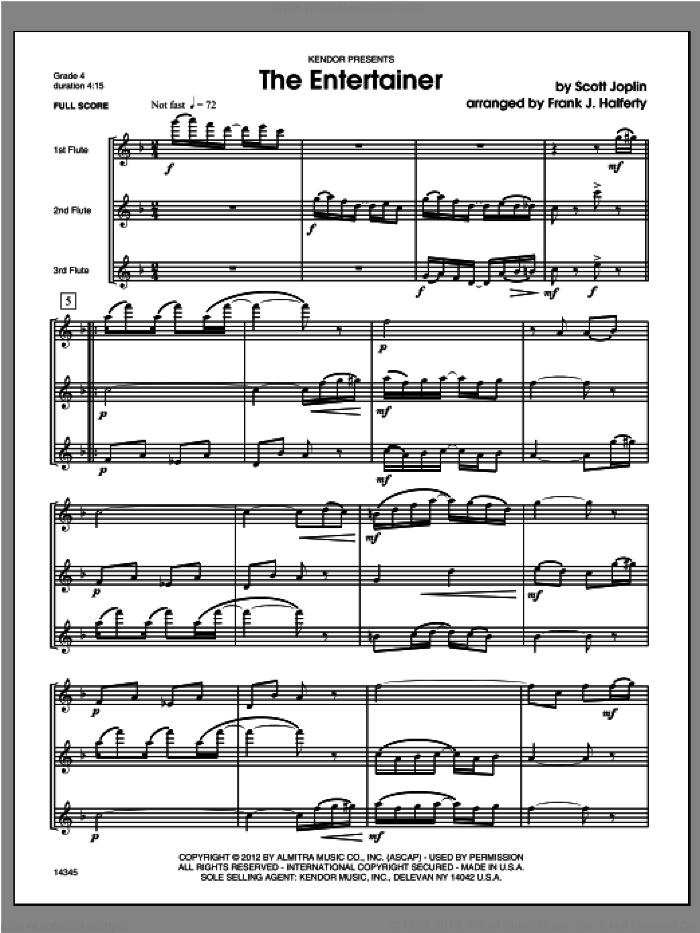 Entertainer, The (COMPLETE) sheet music for flute trio by Frank J. Halferty and Scott Joplin, classical score, intermediate skill level