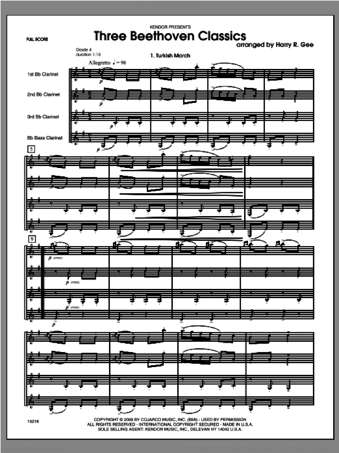 Three Beethoven Classics (COMPLETE) sheet music for clarinet quartet by Ludwig van Beethoven and Harry Gee, classical score, intermediate skill level