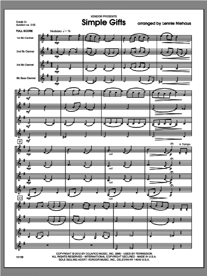Simple Gifts (COMPLETE) sheet music for four clarinets by Lennie Niehaus, classical score, intermediate skill level