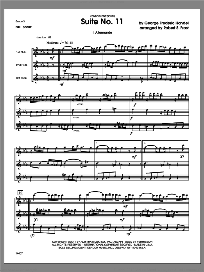 Suite No. 11 (COMPLETE) sheet music for flute trio by George Frideric Handel and Robert S. Frost, classical score, intermediate skill level