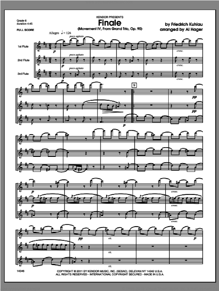 Finale (Movement IV, From Grand Trio, Op. 90) (COMPLETE) sheet music for flute trio by Friedrich Daniel Rudolf Kuhlau and Al Hager, classical score, intermediate skill level