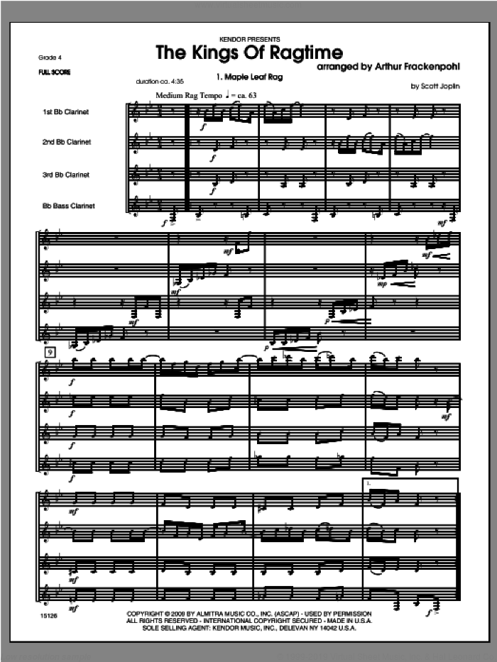 Kings Of Ragtime, The (COMPLETE) sheet music for clarinet quartet by Arthur Frackenpohl, classical score, intermediate skill level