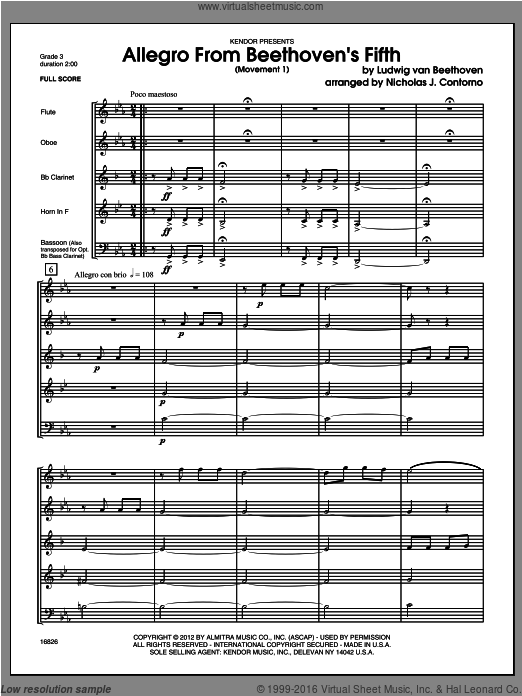 Allegro From Beethoven's Fifth (Movement 1) (COMPLETE) sheet music for wind quintet by Ludwig van Beethoven