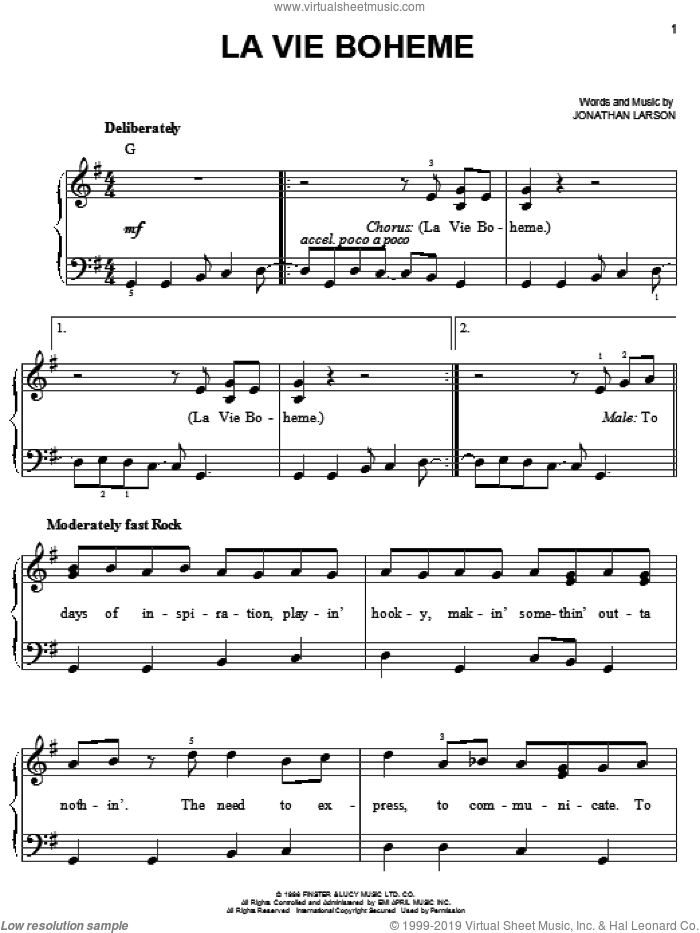 La Vie Boheme sheet music for piano solo by Jonathan Larson and Rent (Movie), easy skill level