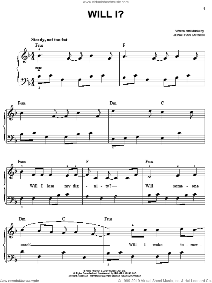 Will I? sheet music for piano solo by Jonathan Larson and Rent (Movie), easy skill level