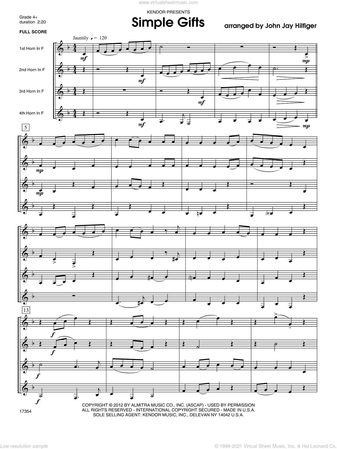 Simple Gifts sheet music for four horns (full score) by Hilfiger. Score Image Preview.