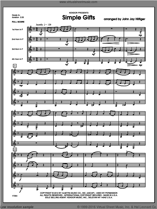 Simple Gifts (COMPLETE) sheet music for four horns by Hilfiger. Score Image Preview.