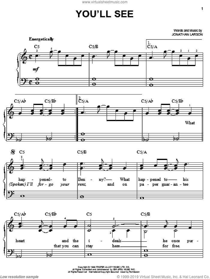 You'll See sheet music for piano solo by Jonathan Larson and Rent (Movie), easy skill level