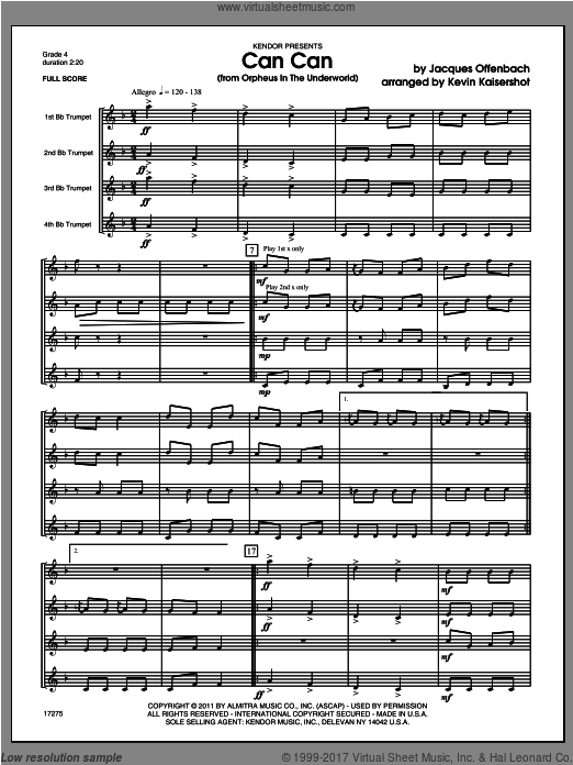 Can Can (from Orpheus In The Underworld) (COMPLETE) sheet music for four trumpets by Offenbach