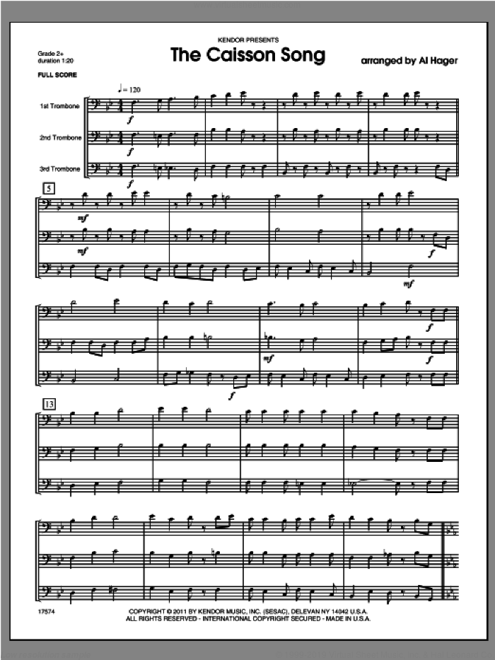 Caisson Song, The sheet music for three trombones (full score) by Hager. Score Image Preview.