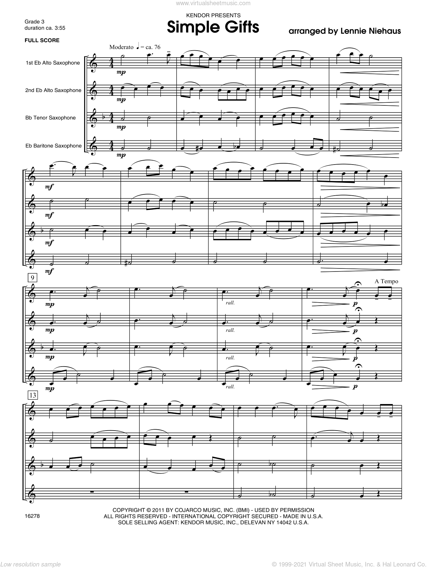 Simple Gifts sheet music for saxophone quartet (full score) by Lennie Niehaus. Score Image Preview.