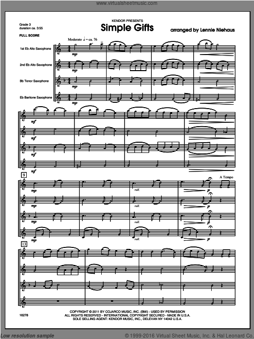 Simple Gifts (COMPLETE) sheet music for saxophone quartet by Lennie Niehaus, classical score, intermediate saxophone quartet. Score Image Preview.