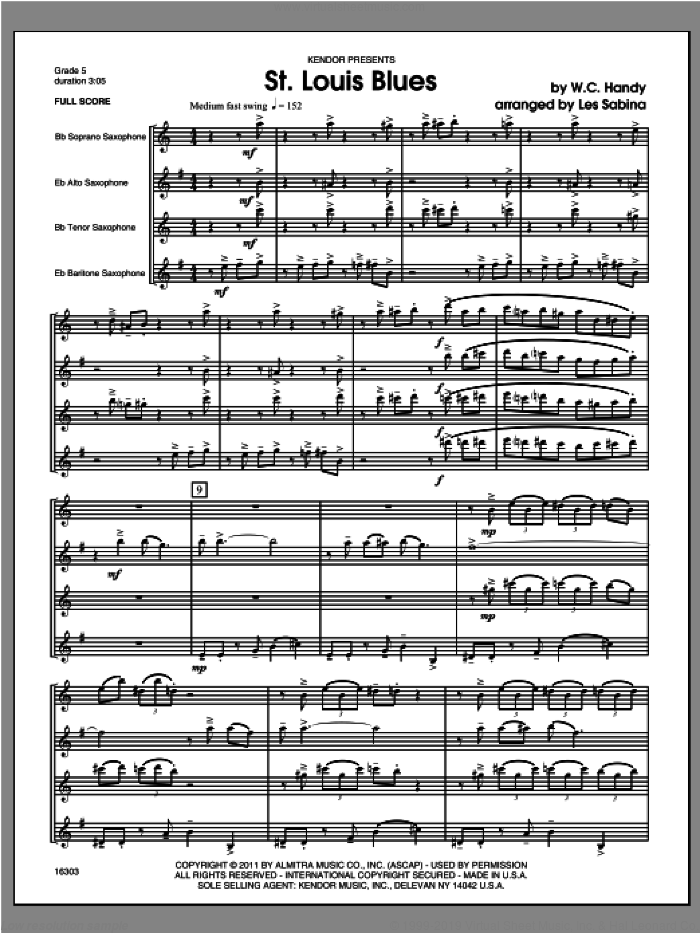 St. Louis Blues (COMPLETE) sheet music for saxophone quartet by Les Sabina and Handy, classical score, intermediate. Score Image Preview.