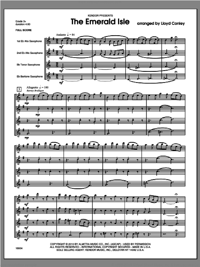 Emerald Isle, The (COMPLETE) sheet music for saxophone quartet by Conley, classical score, intermediate saxophone quartet. Score Image Preview.