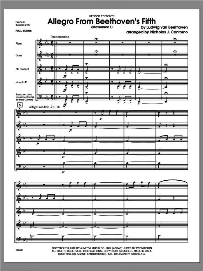 Allegro From Beethoven's Fifth (Movement 1) (COMPLETE) sheet music for wind quintet by Ludwig van Beethoven and Contorno, classical score, intermediate