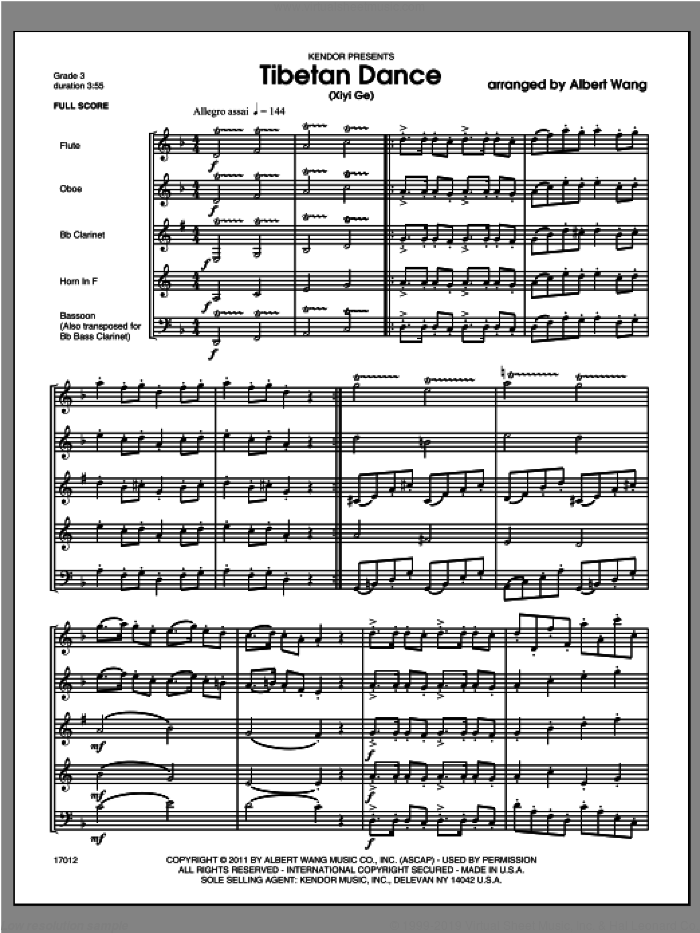 Tibetan Dance (Xiyi Ge) (COMPLETE) sheet music for wind quintet by Wang, classical score, intermediate. Score Image Preview.