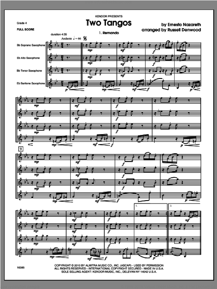 Two Tangos (COMPLETE) sheet music for saxophone quartet by Nazareth and Russell Denwood, classical score, intermediate skill level