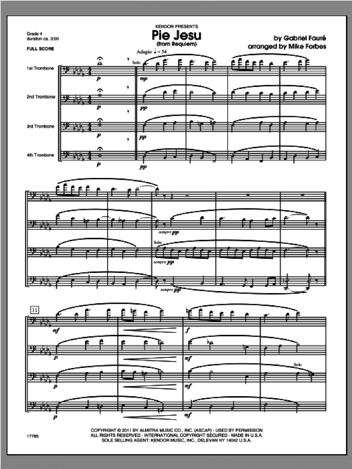 Pie Jesu (from Requiem) (COMPLETE) sheet music for four trombones by Gabriel Faure and Michael Forbes, classical score, intermediate skill level