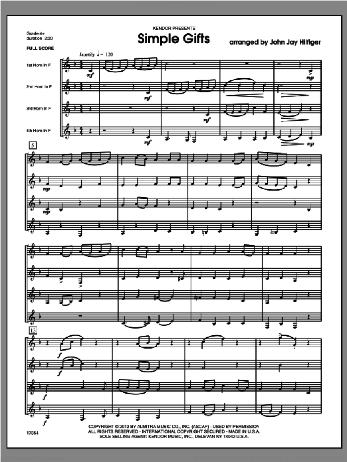 Simple Gifts (COMPLETE) sheet music for horn quartet by Hilfiger, classical score, intermediate skill level