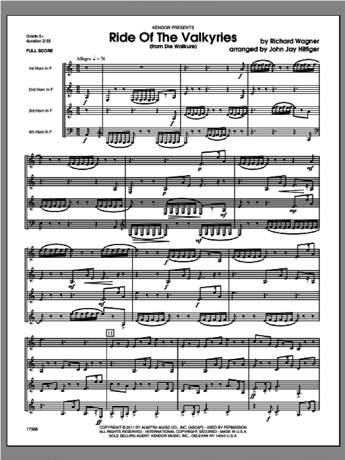 Ride Of The Valkyries (from Die Walkure) (COMPLETE) sheet music for four horns by Richard Wagner and Hilfiger, classical score, intermediate skill level