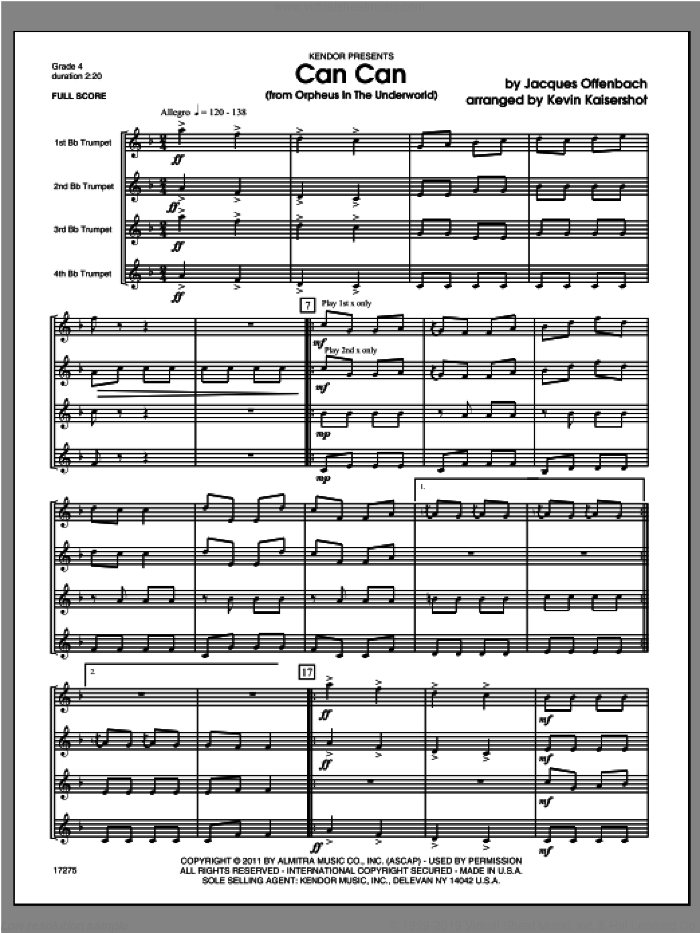 Can Can (from Orpheus In The Underworld) (COMPLETE) sheet music for four trumpets by Offenbach and Kaisershot, classical score, intermediate four trumpets. Score Image Preview.