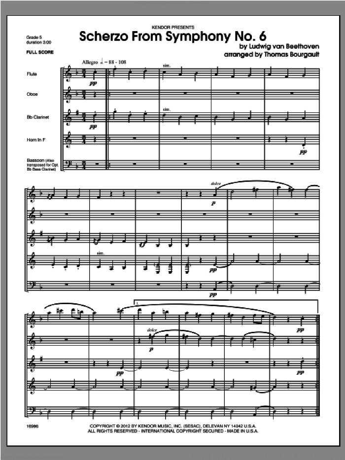 Scherzo From Symphony No. 6 (COMPLETE) sheet music for wind quintet by Bourgault, classical score, intermediate skill level